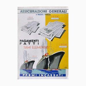 Vintage Assicurazioni Generali Poster - Offset Print on Cardboard 20th Century