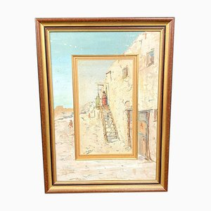 Antique Oriental House Painting by Gilbert Galland