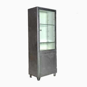 Vintage Industrial Stripped and Polished Steel and Glass Medicine Cabinet