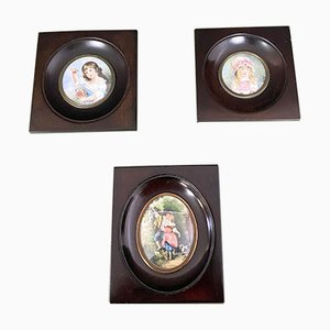 French School Miniature Portraits in Stained Wood Frames, 1950s, Set of 3