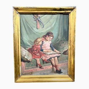 Antique French School The Girls Writing In A Bourgeois Interior Painting