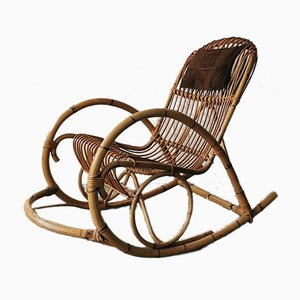 Mid-Century Rattan Rocking Chair from Rohé Noordwolde