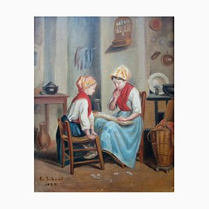 Flemish School Fortune Teller Painting by Georges Siberdt , 1930s