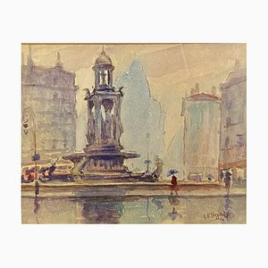 Place des Jacobins in Lyon Watercolor by Heydrick Georges, 1920s