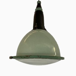 Green Enamel Factory Lamp, 1950s