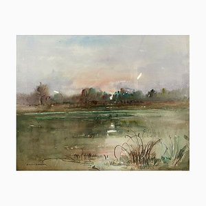 Antique The Pond Watercolor by Antoine Bisson Barbier