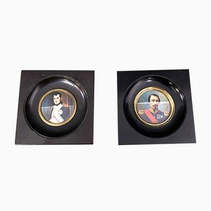 French School Portrait of Napoleon and A General In Blackened Wooden Frames, Set of 2