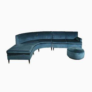 Mid-Century Italian Turquoise Smooth Velvet Sofa & Pouf with Wooden Feet & Brass, 1960s, Set of 3