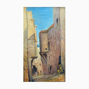 Orientalist School Animated Alley in North Africa Painting, 1920s