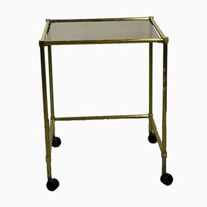 Vintage Brass Side Table On Wheels With Smoked Glass Top