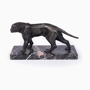 Art Deco Patinated Black Panther Sculpture by Jacques Limousin