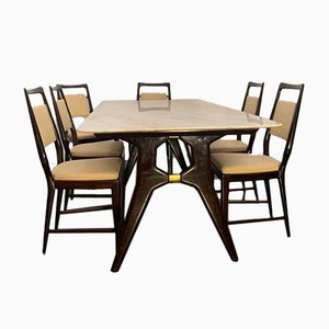 Rosewood Dining Table & Chairs Set from La Permanente Mobili Cantù, 1960s, Set of 7