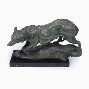 Mid-Century Bronze Sculpture of Wolf