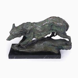 Mid-Century Bronze Skulptur von Wolf