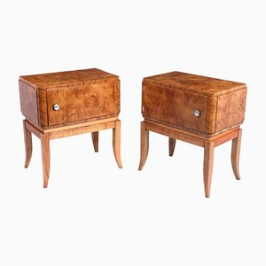 Art Deco Bedside Cabinets in Burr Elm, 1930s, Set of 2