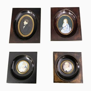French School Miniature Portraits in Stained Wood Frames, Set of 4