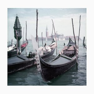 Venice Gondolas Oversize C Print Framed in Black by Slim Aarons