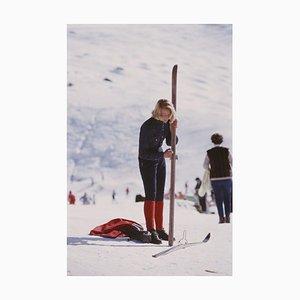 Verbier Skier Oversize C Print Framed in Black by Slim Aarons