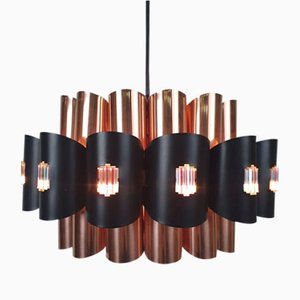 Danish Copper and Aluminum Pendant by Werner Schou for Coronell Elektro, 1970s