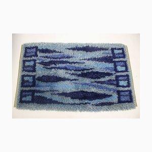 Schwedischer Handgeknüpfter Dunkelblauer Teppich