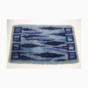 Swedish Hand-Knotted Dark Blue Rug