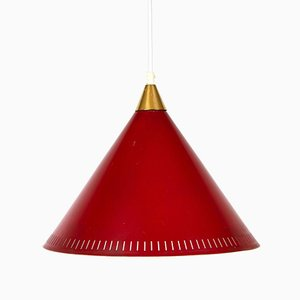 Red Cone Ceiling Lamp by Bent Karlby for Lyfa, 1960s