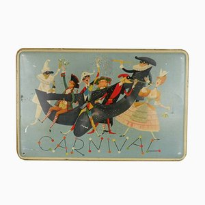 Italienischer Vintage Carnival Edition Siebdruck Pavesi Keksdose, 1950er