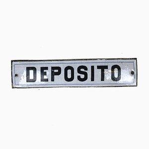 Vintage Italian Enamel Metal Storage Sign Deposito, 1950s