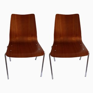 Side Chairs with Tubular Steel and Plywood Seats from Mauser Werke Waldeck, 1970s, Set of 2