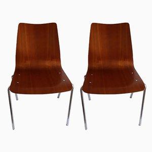 Stühle mit Sitz aus Stahlrohr & Sperrholz von Mauser Werke Waldeck, 1970er, 2er Set