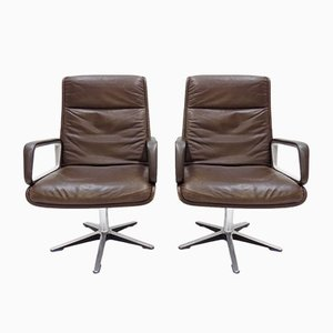 High Back Brown Leather Swivel Chairs by Delta Design for Wilkhahn, 1960s, Set of 2