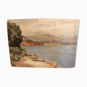 Vintage Mediterranean Oil on Panel