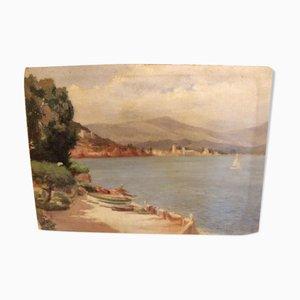 Vintage Mittelmeer Öl auf Holzplatte