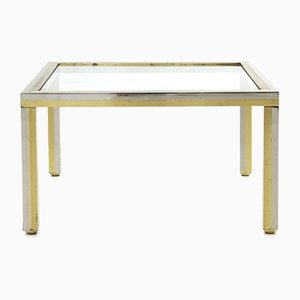 Coffee Table in Chromed Metal, Brass and Glass, 1970s