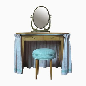 Dressing Table, Mirror & Stool, 1960s, Set of 3