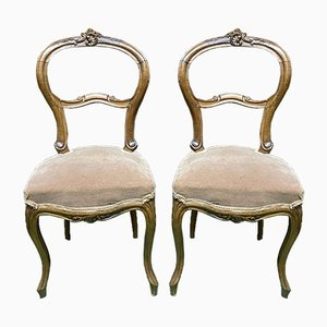Vintage Walnut Dining Chairs, Set of 2