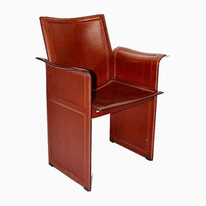 Vintage Cognac Leather Dining Chairs by Tito Agnoli for Matteo Grassi, Set of 8