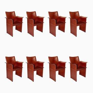 Chaises de Salon Vintage en Cuir Cognac par Tito Agnoli pour Matteo Grassi, Set de 8