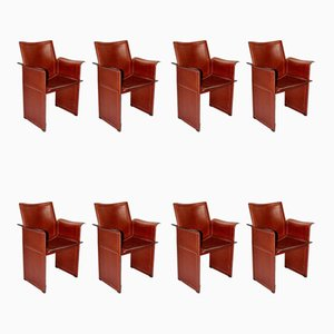 Vintage Cognacfarbene Leder Esszimmerstühle von Tito Agnoli für Matteo Grassi, 8er Set