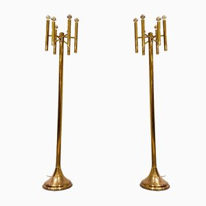Brass Floor Lamps by Gaetano Sciolari, 1970s, Set of 2