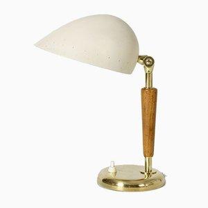 Messing, Holz und Lackierte Messing Tischlampe von Böhlmarks, 1940er