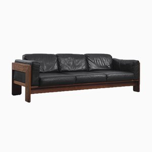 Rosewood & Black Leather Bastiano Sofa by Tobia & Afra Scarpa for Gavina, 1962