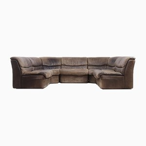 Brutalist Patinated Leather Modular Corner Sofa from Musterring International, 1960s, Set of 5