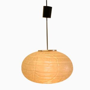 Mid-Century Space Age Oval Flat Glass Pendant Lamp from Doria