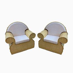 Italian Rattan Wicker Club Chairs, 1970s, Set of 2
