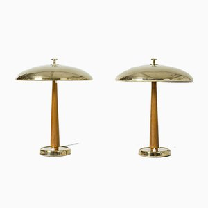 Brass and Wood Table Lamps from Nordiska Kompaniet, 1950s, Set of 2