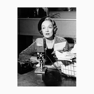 Marlene Dietrich Recording A Radio Show Archival Pigment Print Framed in White by Everett Collection