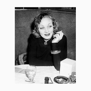 Smoking Dietrich Archival Pigment Print Framed in White by Everett Collection
