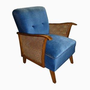 Mid-Century Blue Braided Armchair