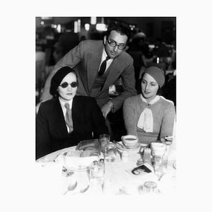 Marlene Dietrich, Rouben Mamoulian & Dorothea Wieck Dine out Archival Pigment Print Framed in Black by Everett Collection